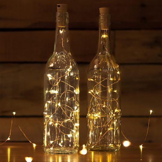 Decoración navideña casera botellas luz LED 2