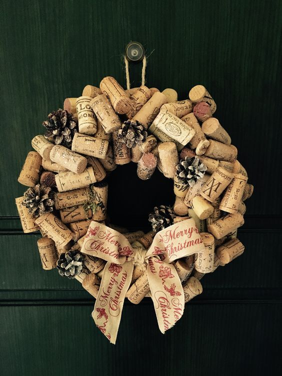 Decoración navideña casera con corchos
