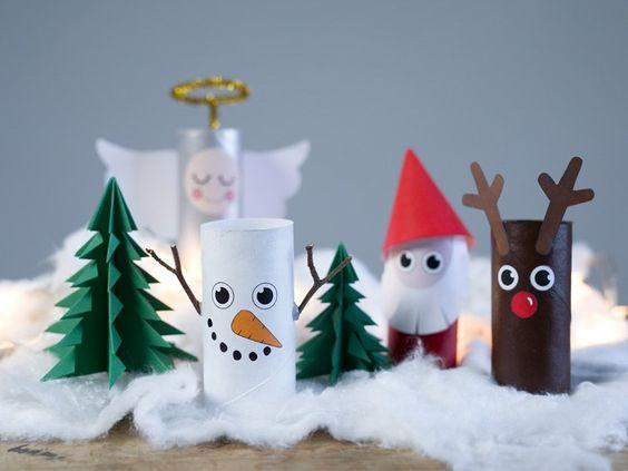 Decoración navideña muñecos con rollos de papel