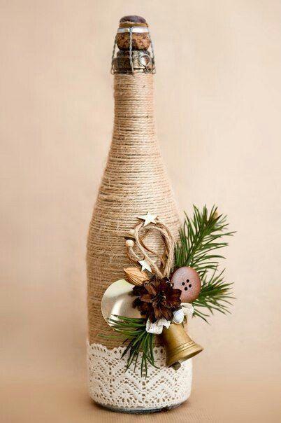 botella decorada. Decoración navideña casera