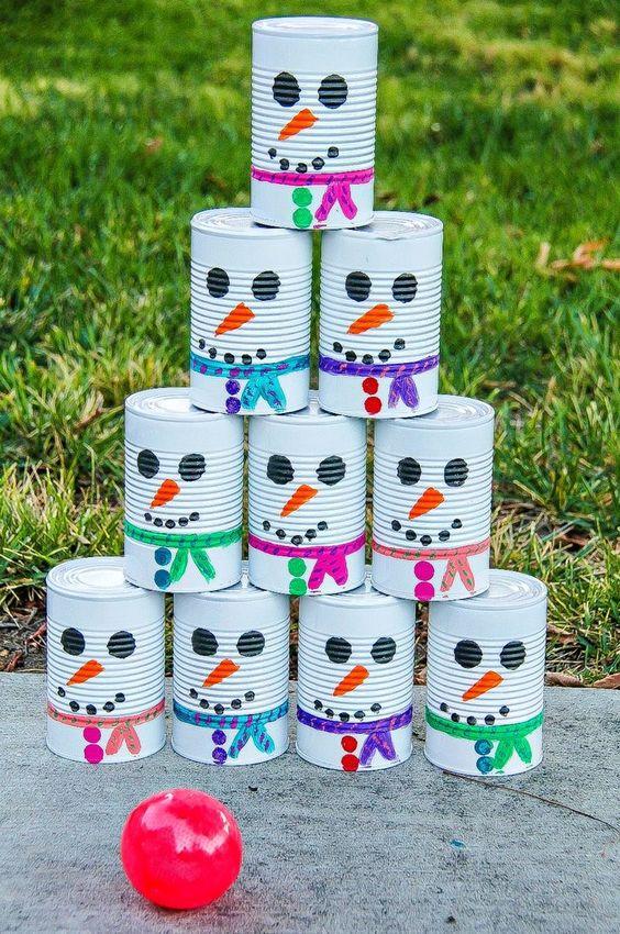 Latas decoradas muñeco de nieve