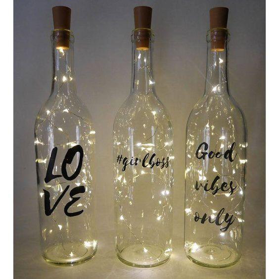 decoración navideña casera botellas luz LED